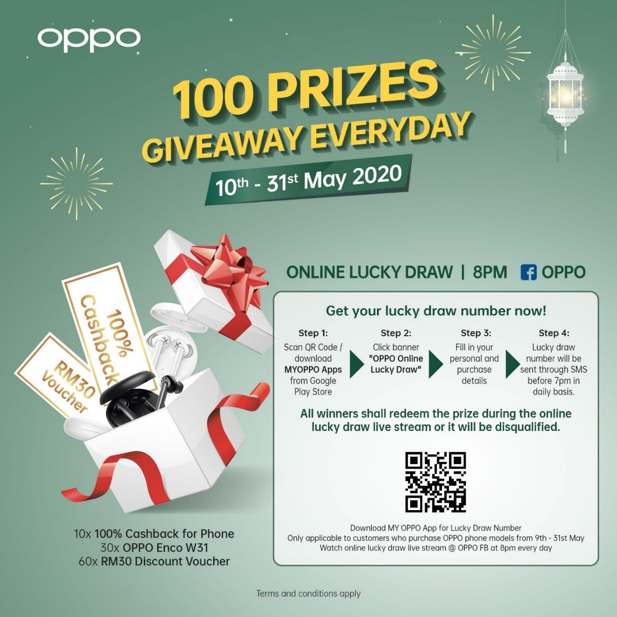 oppo reno 3 100 prizes giveaway